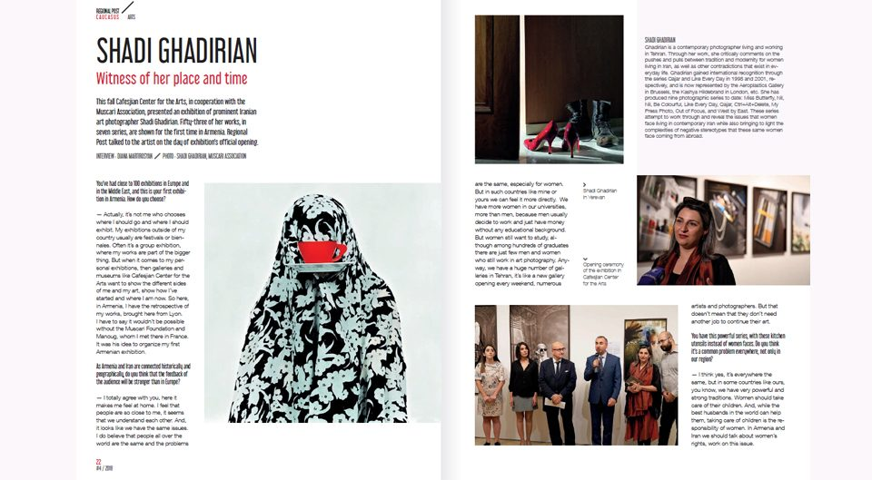 The article on Shadi Ghadirian's exhibition in Yerevan, Armenia by Arshak Tovmasyan published in Regional Post Magazine